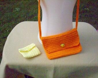 SALE- Orange Clutch Purse or Shoulder Bag