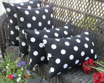"Set of 4 Pillow Covers - Indoor / Outdoor Black and White Polka Dot 17"" Square & Rectangle/ Lumbar Pillow Covers"