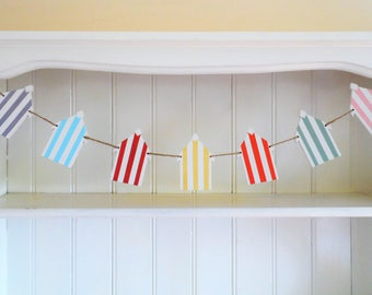 Beach Hut-Wooden Bunting-Hand Painted-Wooden Garland-Seaside Decor-Pastel Colours-Home Decor-Beach Wedding Decor-Gift for Teens-Gift for Her