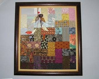 Great picture of textile art, blue and Brown