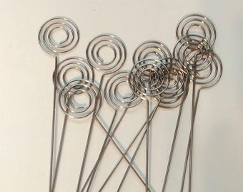 Set of 12 Swirl Wire Card Holder, table number holder, photo holder, party supplies, florist supplies, wedding supplies