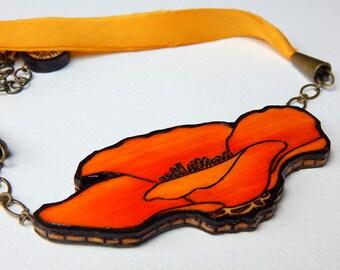 Orange California Poppy Necklace - Handmade & Eco friendly