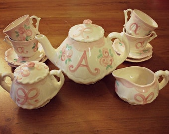 Rosebuds and Bows Little Girls Tea Party China Tea Set, Handpainted, Custom, Personalized