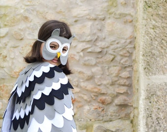 Owl Costume, Kids Costume, Owl Mask and Wing Cape, For Boys, For Girls