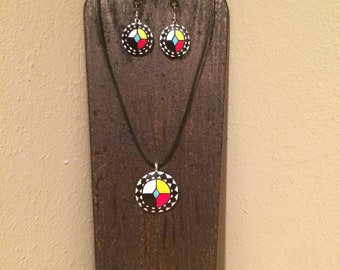 Native American Choctaw Medicine wheel gourd necklace and earring set