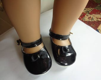"""Black Leather Doll Shoes for 18 inch Dolls- Shoes fit 18"""" Dolls like American Girl"""