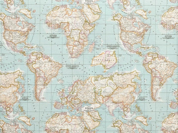 Map fabric world map half meter half yard upholstery gumiabroncs Image collections