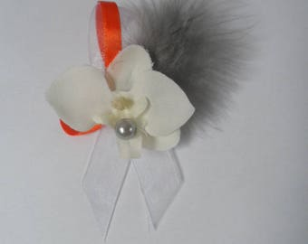 Boutonniere - PIN for wedding - white, grey and orange