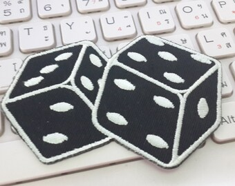 Dice Iron on patch - Dice Applique Embroidered Iron on Patch