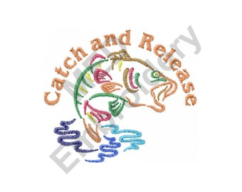 Catch and Release - Machine Embroidery Design, Fish, Fishing