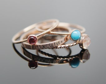 14k rose gold gemstone stacking rings set. Custom band set of 4 rings gemstone stacking rings.