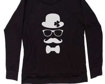 Derby, Mustache and Shamrock Slouchy Off Shoulder Oversized Sweatshirt