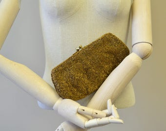 1940s Walborg Brown Carnival Beaded Clutch