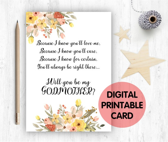 PRINTABLE will you be my godmother card, godmother card, printable godmother card, godmother poem, because I know you'll love me
