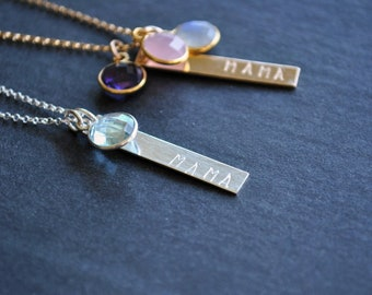 MAMA Stamped Bar/Birthstone Necklace in Sterling Silver or 14k Gold