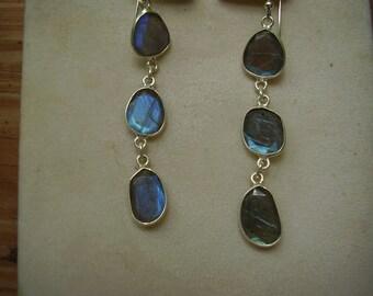 Vintage Long Blue Fire Labradorite Sterling Silver Dangle Earrings