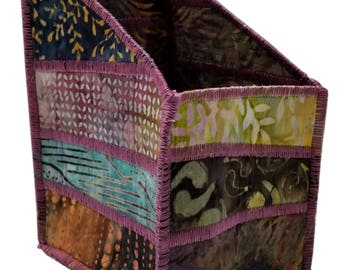 Pencil and Tool Organizer in Natural Shades of Mauve, Brown and Blue Batiks