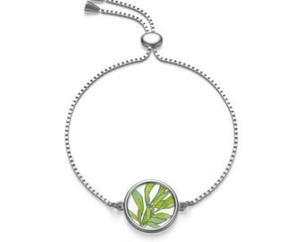 Green Leaves, Floral Charm, Adjustable bracelet, Modern Design, Chain Bracelet, Gold, Silver, Charm Bracelet