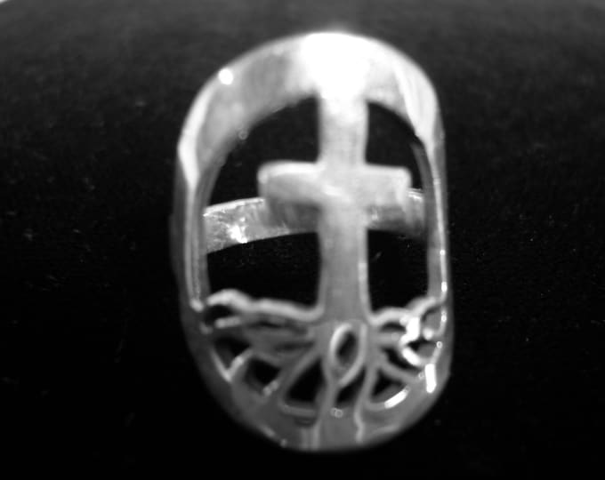 ROOTED IN CROSS Ring quarter size