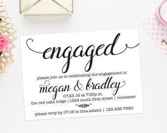 Engagement Party Invitation | Couples Shower Invite | Printable or Printed Options