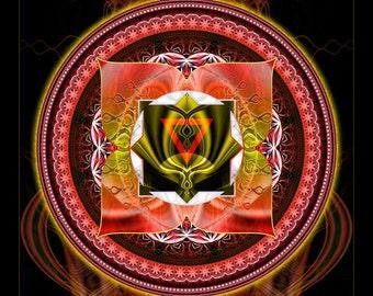 MOOLADHARA, Root Chakra - Tapestry, Wall Hanging - Original Pumayana Visionary Healing Art, Spiritual, Psy, Shamanic, Sacred Geometry Art