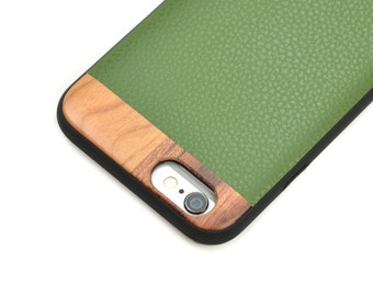 iPhone 7 Wood Case, Leather iPhone 7 Case, iPhone 7 Case with Green Leather - LTR-GR-I7
