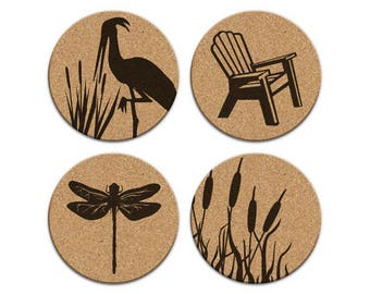 Crane Bird Dragonfly Adirondack Chair Cattails Beach House Coastal Cork Coaster Set Of 4 Home Decor Barware Decoration