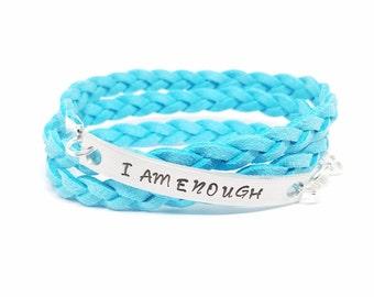 I AM ENOUGH Bracelet   Wrap Bracelet   Inspirational Wrap Bracelet   Self Esteem Jewelry   Mantra Bracelet   Braided Wrap   Hand Stamped