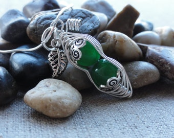 Peas In a Pod .925 Sterling Silver Wire Wrapped Natural Raw Organic Dark Geen Gemstone Pendant Necklace Fashion Jewelry Peapod Gift For Her