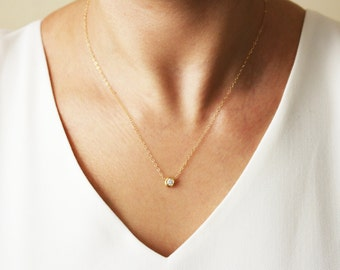 Delicate CZ Necklace / Tiny Diamond Pendant / Gold CZ Solitaire Necklace