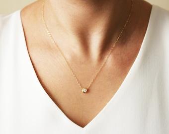 Cz diamond necklace etsy delicate cz necklace tiny diamond pendant gold cz solitaire necklace mozeypictures Choice Image