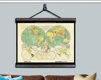 "World Map. Pull Down Map. Russian Map 1909. 48""w x 36""h, Printed on Archival Cotton Canvas"