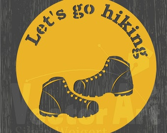 SVG - Let's go hiking - hiking boots in a circle