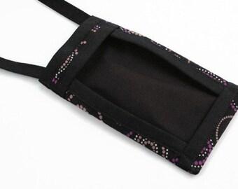 Cell Phone Pouch, Fabric Cell Phone Pouch, Cell Phone Cross Body Bag, Cell Phone Purse, Mini Cross Body Bag, Handbags, Purple Dotted Swirls