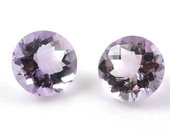 12mm Lavender Amethyst Round  Matching Pair Great Color (6744)