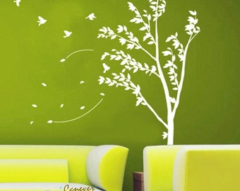 tree in wind 70inches H----Removable Graphic Art wall decals stickers home decor