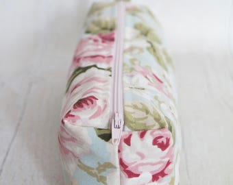 Floral Pencil case/ Makeup bag, made with cotton linen fabric and fully lined with water proof fabric