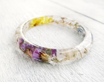 Resin bangle bracelet Rustic wedding bracelet thin bracelet eco friendly gifts nature bracelet terrarium bracelet boho wedding elven jewelry