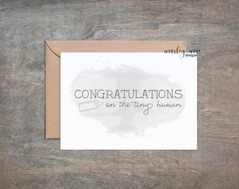 congrats on the tiny human baby shower funny greeting card