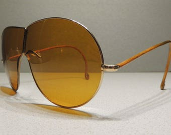Vintage 1920s Outinglas Amber Lenses Insulated Cable Temples Folding Motorcycle Sunglasses