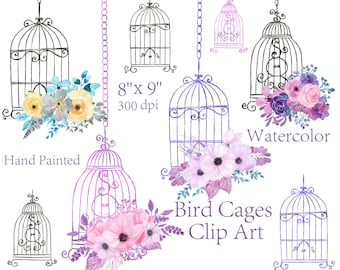 Watercolor floral bird cage clipart wedding elements invitation clipart floral bouquets greeting card hand painted clipart flowers clipart