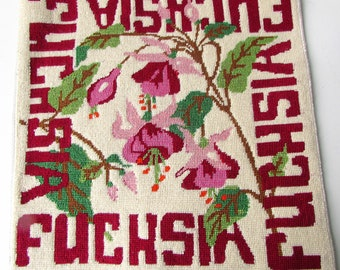 Vintage fini tapisserie - Fuchsia et vert blanc rose chaud rose broderie - fleurs Fuchsia - tapisserie Vintage broderie florale