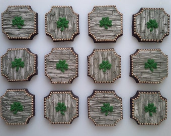 Barn Wood Plank and Shamrock Cookies - One Dozen Decorated St. Patrick's Day / Wedding Cookies