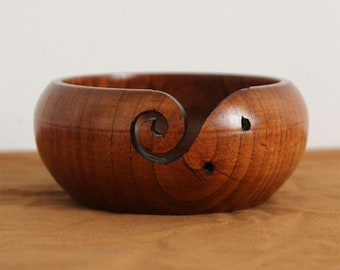 Large Jujube Wood Yarn Bowl Knitting Bowl Yarn Dispenser Yarn Holder Crochet Bowl Knitter Bowl Knitting Yarn Crochet Bowls