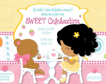Kids Birthday Party Invitations or Girls Birthday Tea Party Invitation - DIY or Printed Birthday Party Invites
