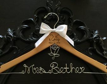Wedding Hanger, Princess Bride Hanger, Personalized Hanger, Bridal Hanger, Princess Themed Wedding, Princess Hanger, Mrs. Hanger, Bride Gift