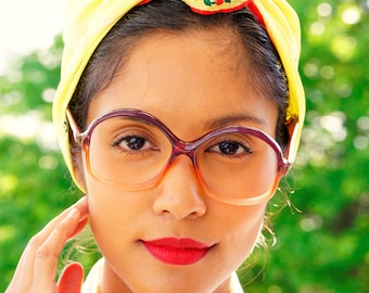 Vintage Eyeglasses 1970s/Glasses/New Old Stock/Multi-color/ Made In France Disco Retro Glasses Frames Eyeglass