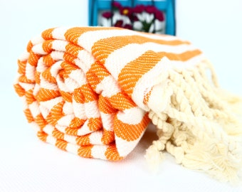 Orange Stripe Turkish Towel,Orange Cotton Towel,Orange Towel,Orange Striped Peshtemal,Orange Stireped Beach Towel,Bath Towel,thick cotton