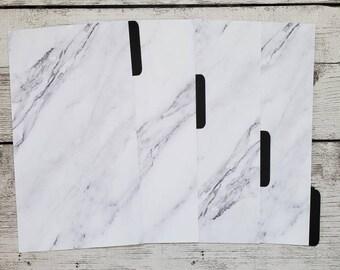 Marble Planner Dividers - Elegant Black Dividers - Minimalist Dividers - Custom Dividers- Planner Dividers - Pocket, A6, Personal, A5