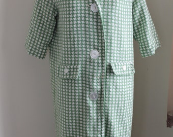 60s Light Coat, Green White Checkered Spring Coat Large Round Buttons Three Quarter Sleeves,  Cotton Blend